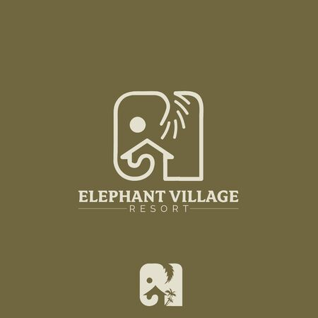 Elephant Village vector symbol, the simple modern shape of elephant combined with house shape and palm tree