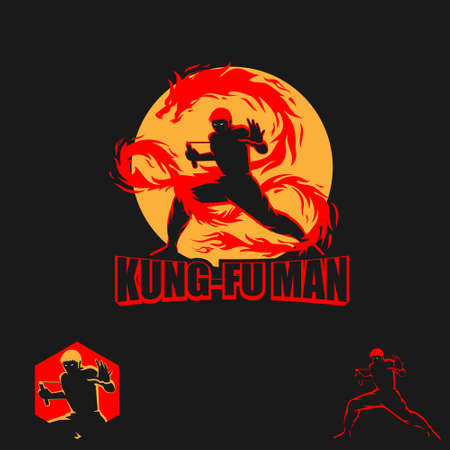 Kungfu Man vector symbol martial artist with double stick or nunchaku  イラスト・ベクター素材