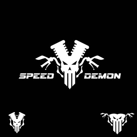 Speed Demon vector symbol automotive symbol combining skull, engine, cog, and steer for beast look