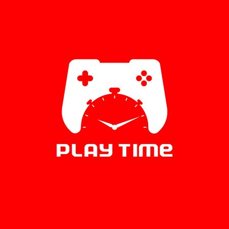 Play Time vector concept a combination of game pad controller represent video game and stop watch for time