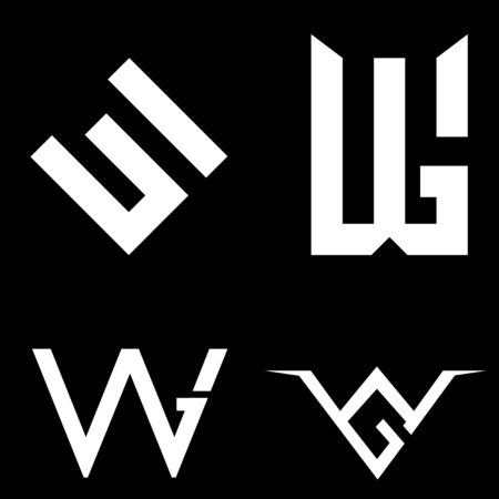 W and G letter based set vector symbol