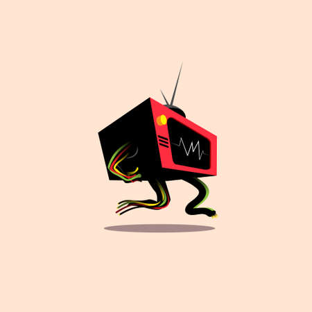 Walking TV vector illustration the TV going rogue