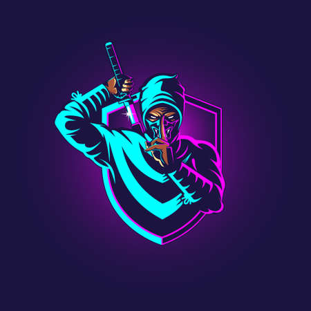 Ninja eSport insignia vector illustration for commercial usezz