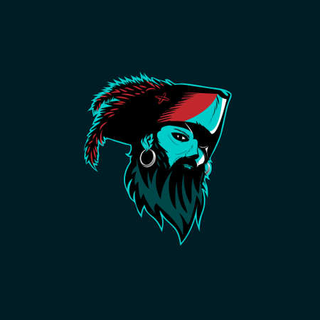 Pirate head vector illustration for logo, tshirt, sticker or any other purpose.
