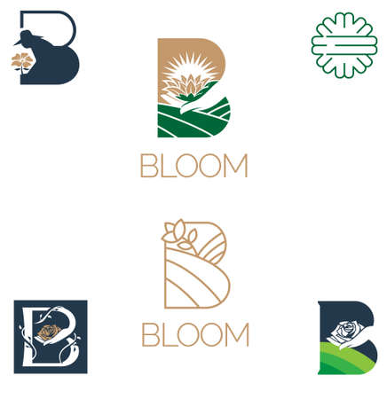 Bloom symbol vector letter B based alphabet for environtment plantation or any other purpose
