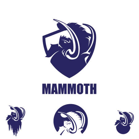Mammoth symbol bundle set vector illustrations