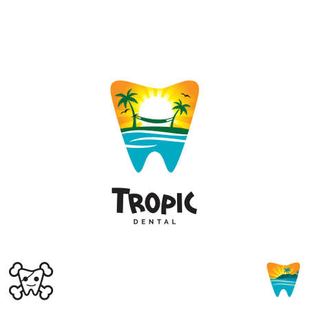 Tropic Tooth Dental cartoon vector illustration