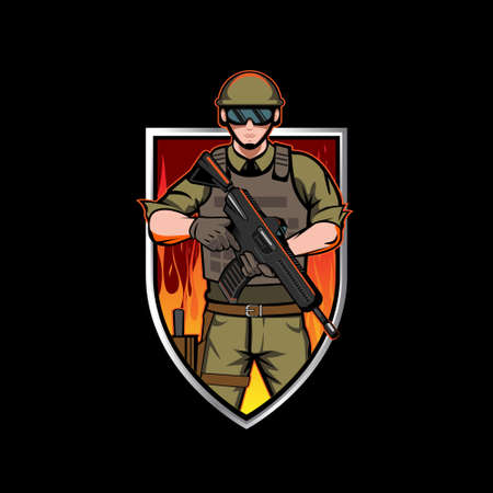 Army Soldier Insignia vector illustration for esport team, t-shirt print, or any other Army purpose