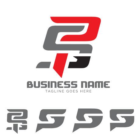 PSG letter based monogram symbol vector set
