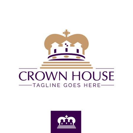 Crown House symbol concept vector template Vectores