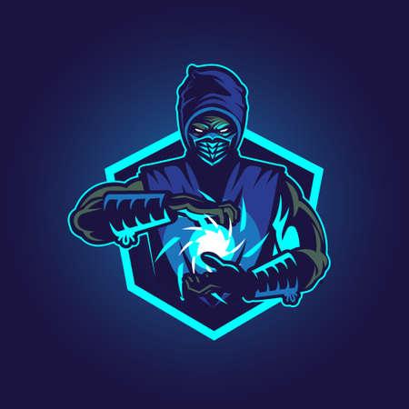 Blue Ninja vector illustration symbol insignia for commercial use Ilustración de vector