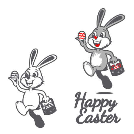 Happy Easter Bunny holding easter egg vector symbol illustration, for greeting card, tshirt print, desugn element or any other purpose