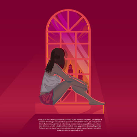Girl looking out through the window during sunset vector illustration. can be used as a poster, merchandise, design element, or any other purpose.