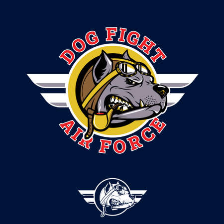 Dog Fight insignia pitbull pilot WWII nose art emblem style vector illustration. can be used as poster, t-shirt, or any other purpose.