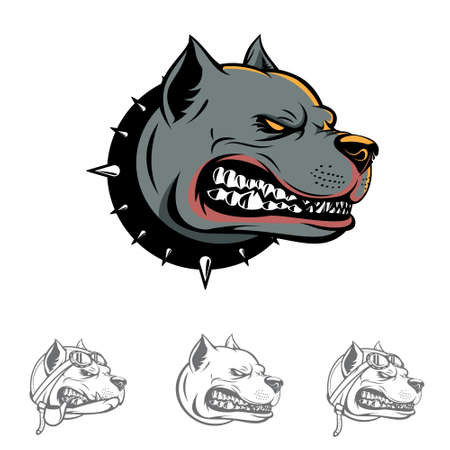 Pitbull Dog head symbol vector illustration for e-sport emblem, sticker, warning sign, coloring or any other purpose.