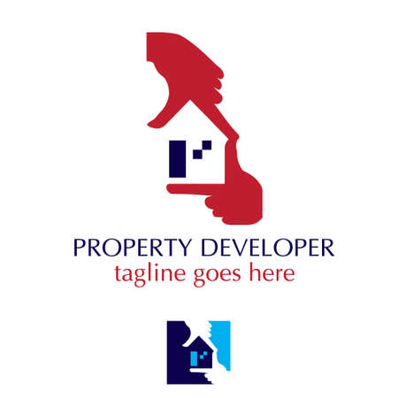 Property Developer hand symbol vector illustration for brand, identity or any other purpose. Vettoriali