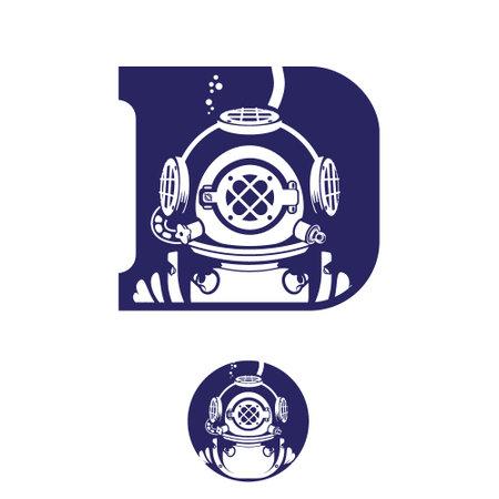 Deep Diver Vintage letter based initial D symbol insignia