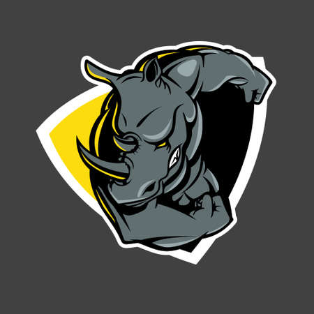 Ramming Rhino insignia vector illustration for e-sport, t-shirt print, poster, design element or any other purpose. Vettoriali