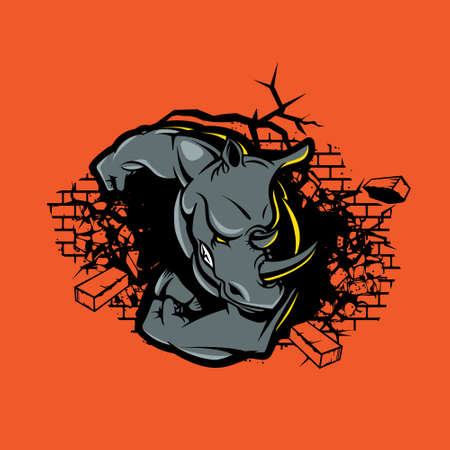Rhino crushes brick wall vector illustration symbol for tshirt print, esport, design element or any other purpose. Vettoriali