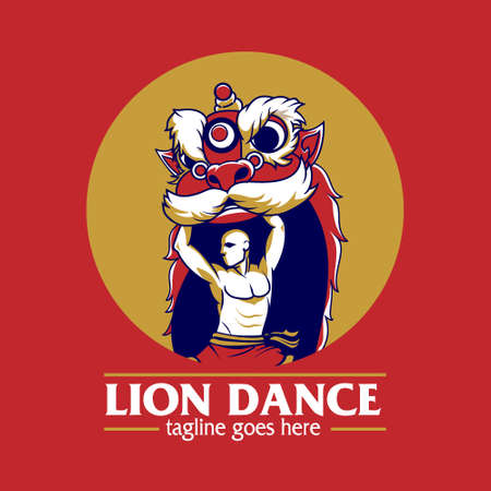 Lion Dance or Barongsai vector illustration symbol for tshirt print, design element, identity, brand or any other purpose.