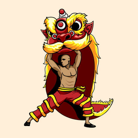 Lion Dance Barongsai illustration vector for design element, tshirt print, greeting card or any other purpose.