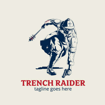 Trench Raider vector illustration symbol WW1 theme