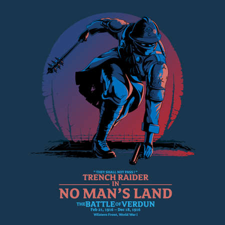 Trench Raider in No Man's Land vector illustration. can be used as poster, design element, t-shirt or any other purpose.