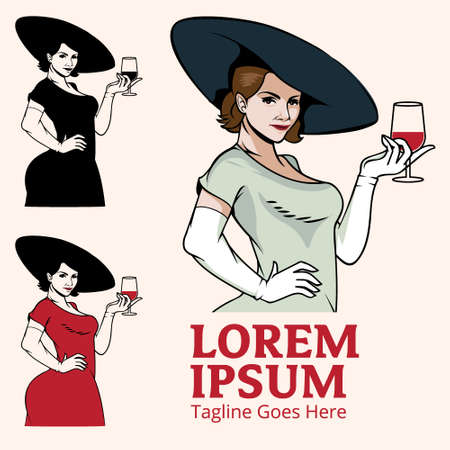 Lady drinks wine vector illustration for brand, poster, design element or any other purpose. Vettoriali