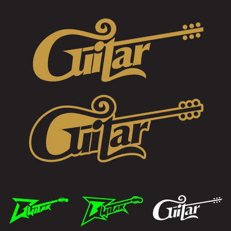 Guitar word mark symbol vector conceptual illustration can be used as design element,   t-shirt print, or any other purpose