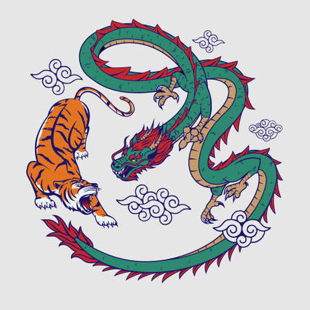 Tiger and Dragon flat color vector  illustration for insignia, t-shirt print, design element, or any other purpose.
