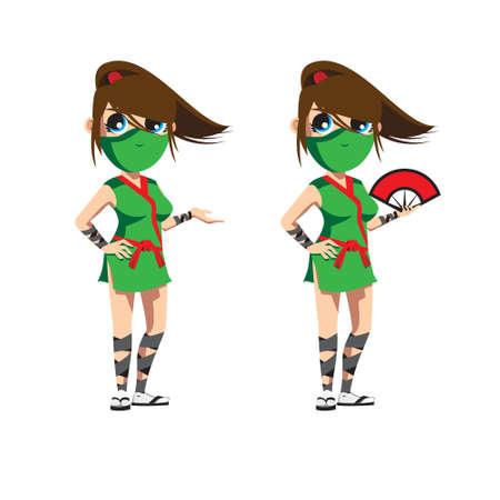 Ninja Girl or Kunoichi vector illustration in simple anime style vector illustration Vettoriali