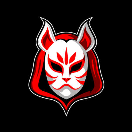 White Fox head mask or Kitsune vector illustration symbol,  in anime style. for esport, tshirt print, design element, or any other purpose.