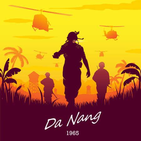 Vietnam War Da Nang 1965 vector illustration silhouette style