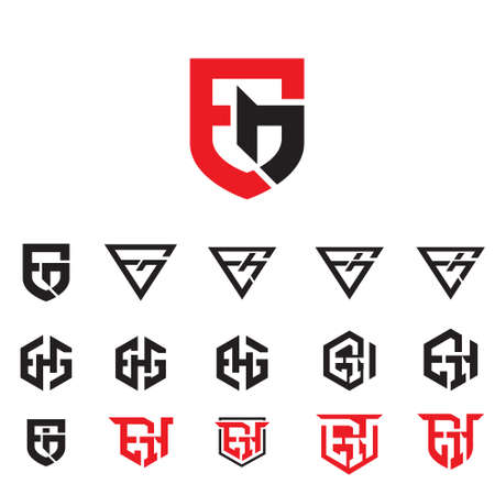 the set contains the monogram combinations of E&G, EGH, and EH. for brand, corporate identity, badge, label, sport symbol or for any other purpose.