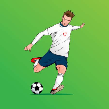 football player  vector illustration kicking the ball. editable layer and color