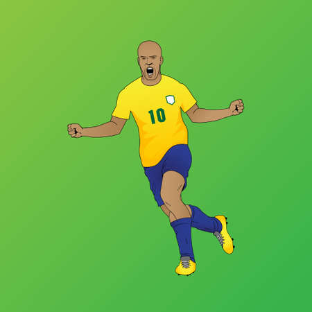 Football player   goal score vector illustration for banner, poster, design element or any other purpose