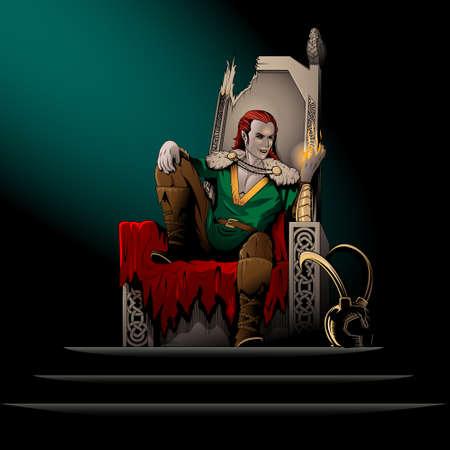 Laufeyson the god of mischief sits on the broken Hlidskjalf the Odin's throne Vettoriali