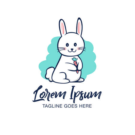 Cute Bunny and carrot vector illustration can be used as logo, t-shirt print, design element or any other purpose.
