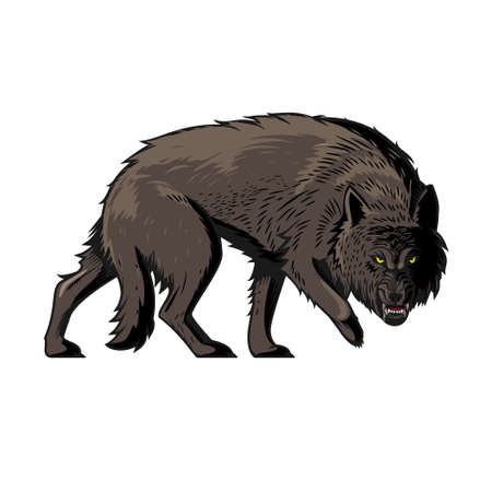 the Giant wolf from Norse myth, Fenrir illustration symbol with editable layers
