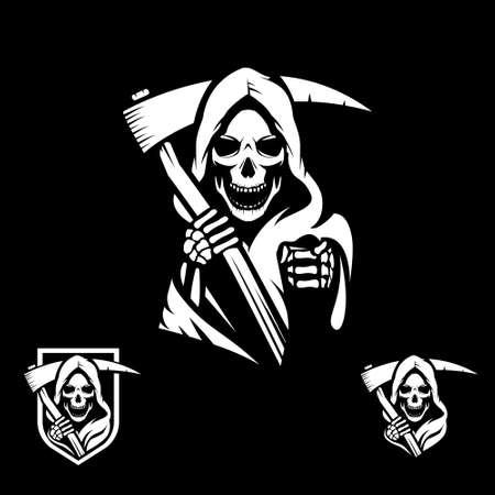 Grim Reaper symbol illustration in vector format for sticker, tshirt print, design element or any other purpose. Vettoriali
