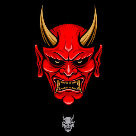 Oni head vector illustration for identity, brand, design element, or any other purpose.