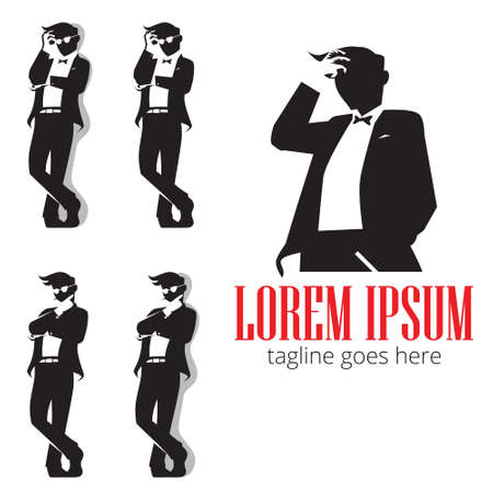 Gentleman in silhouette symbol vector for identity, brand, design element or any other purpose.