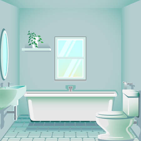 Bathroom in the morning background illustration in editable vector format.