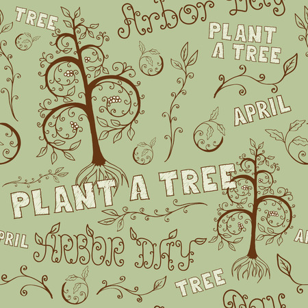 Floral hand drawn seamless pattern for Arbor Day celebrating with Plant a Tree slogan and other letterings. EPS8 vector illustration includes Pattern Swatch. Vector