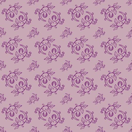 optimized: Floral seamless pattern from hand drawn sketches. Can be used for wallpapers. Optimized for easy color changes. vector illustration includes Pattern Swatch.