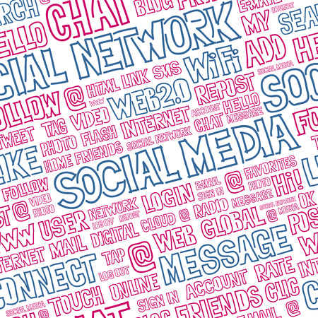 optimized: Hand written seamless pattern with social media words, titles, tags and labels. Optimized for easy color changes. EPS8 vector illustration includes Pattern Swatch. Illustration