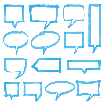 transparency color: Set of hand drawn highlighter speech bubbles, marks and pointers. Can be used for text highlighting, marking or coloring in your designs. Optimized for one click color changes. EPS10 vector illustration with transparency.