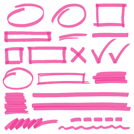 Set of hand drawn highlighter design elements, marks, stripes and strokes. Can be used for text highlighting, marking or coloring in your designs. Optimized for one click color changes. illustration with transparency. Vettoriali