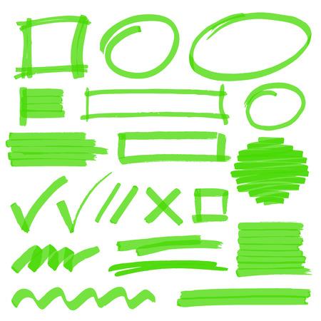 Set di disegnati a mano di design evidenziatore elementi, segni, strisce e ictus. Può essere usato per la selezione del testo, la marcatura o di coloranti nei vostri progetti. Ottimizzato per cambiamenti di colore uno scatto. illustrazione vettoriale con trasparenza.