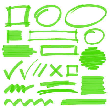 Set of hand drawn highlighter design elements, marks, stripes and strokes. Can be used for text highlighting, marking or coloring in your designs. Optimized for one click color changes. vector illustration with transparency.